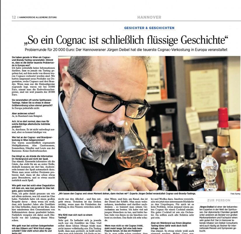 Bericht in der Hannoverschen Allgemeinen Zeitung über das Tasting bei DelFabro