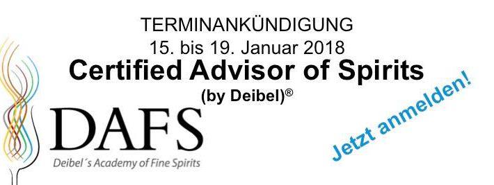 Deibel's Academy of Fine Spirits®: Neuer Kurs im Januar
